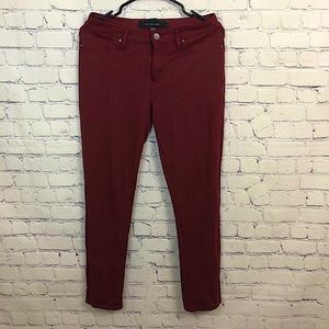 Calvin Klein Jeans Red Stretch Mid Rise Pant Sz 8